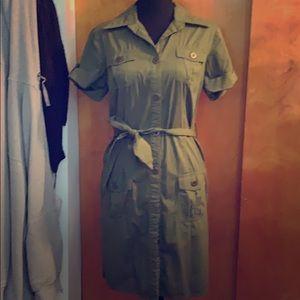 Army green button-down dress
